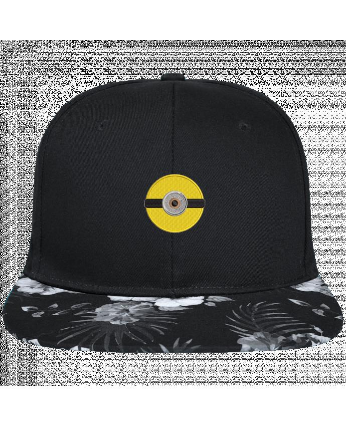 Casquette SnapBack Visière Graphique Fleur Hawaii Minion rond brodé brodé avec toile noire 100% coton et visière imprimée fleu