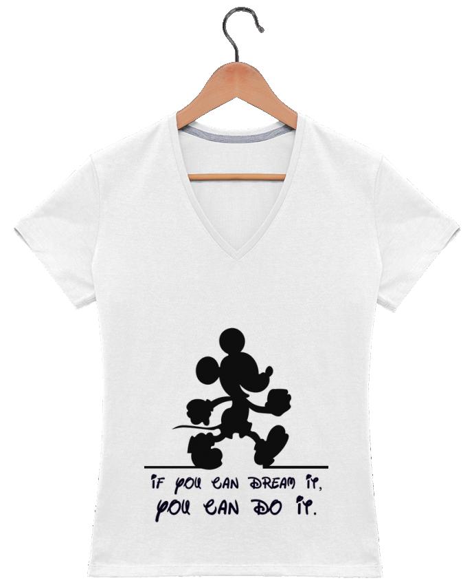 T-shirt Col V Femme 180 gr MICKEY DREAM par stephfen
