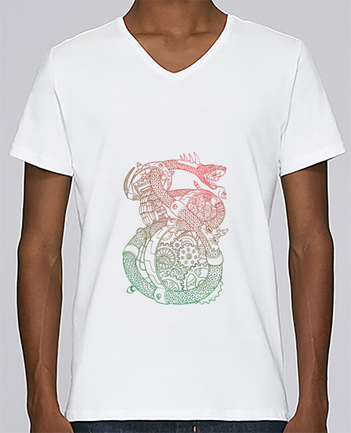 T-shirt Col V Homme Stanley Relaxes Méca Serpent par Tomi Ax