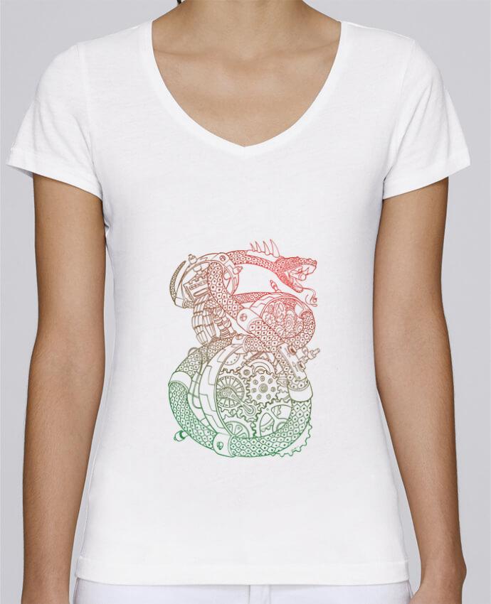 T-shirt Femme Col V Stella Chooses Méca Serpent par Tomi Ax