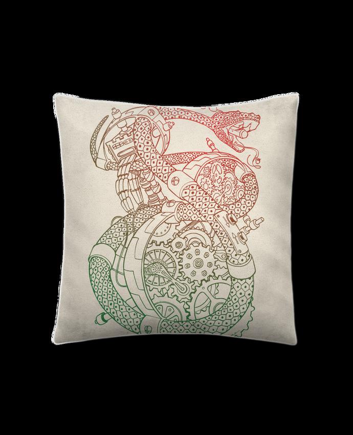 Coussin Toucher Peau de Pêche 41 x 41 cm Méca Serpent par Tomi Ax