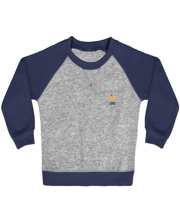 Sweat Shirt Bébé Col Rond Manches Raglan Contrastées France champion du monde 2018 par Mhax