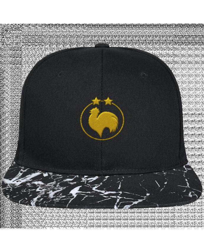 Casquette SnapBack Visière Graphique Noir Minéral Champion 2 étoiles brodé brodé avec toile noire 100% coton et visièr