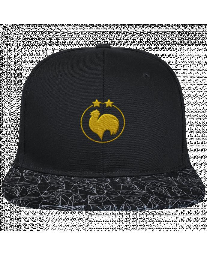 Casquette SnapBack Visière Graphique Noir Géométrique Champion 2 étoiles brodé brodé avec toile noire 100% coton et vis