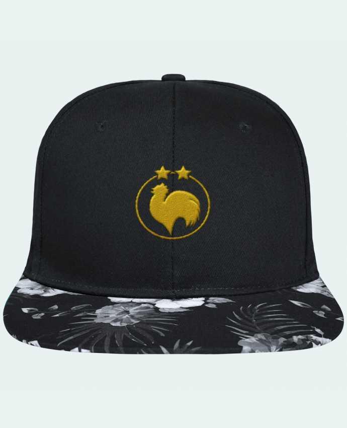 Casquette SnapBack Visière Graphique Fleur Hawaii Champion 2 étoiles brodé brodé avec toile noire 100% coton et visière imprim