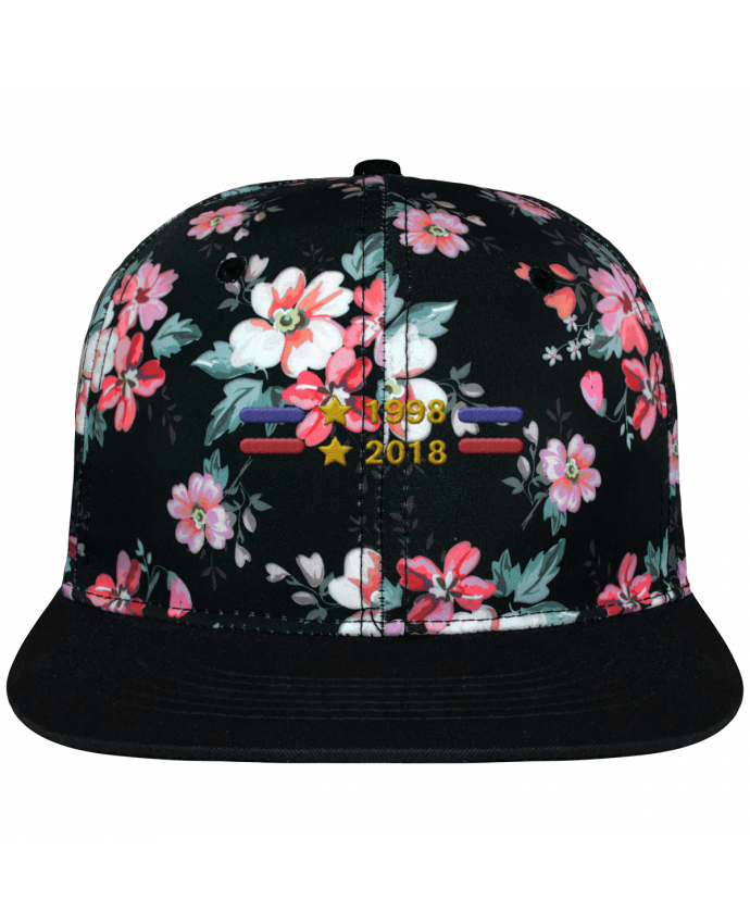 Casquette Snapback Couronne Graphique Floral Noir Champions du monde 2018 brodé brodé avec toile motif à fleurs 100% p