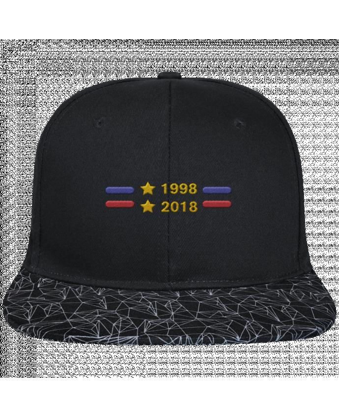 Casquette SnapBack Visière Graphique Noir Géométrique Champions du monde 2018 brodé brodé avec toile noire 100% coton e