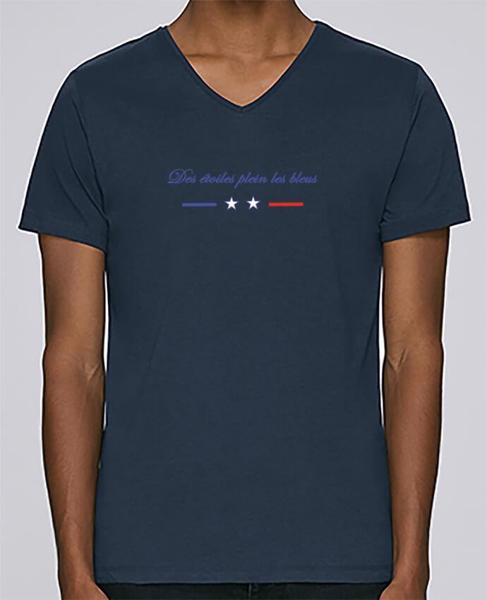 T-shirt Col V Homme Stanley Relaxes DES ETOILES PLEIN LES BLEUS par Tee Smiles