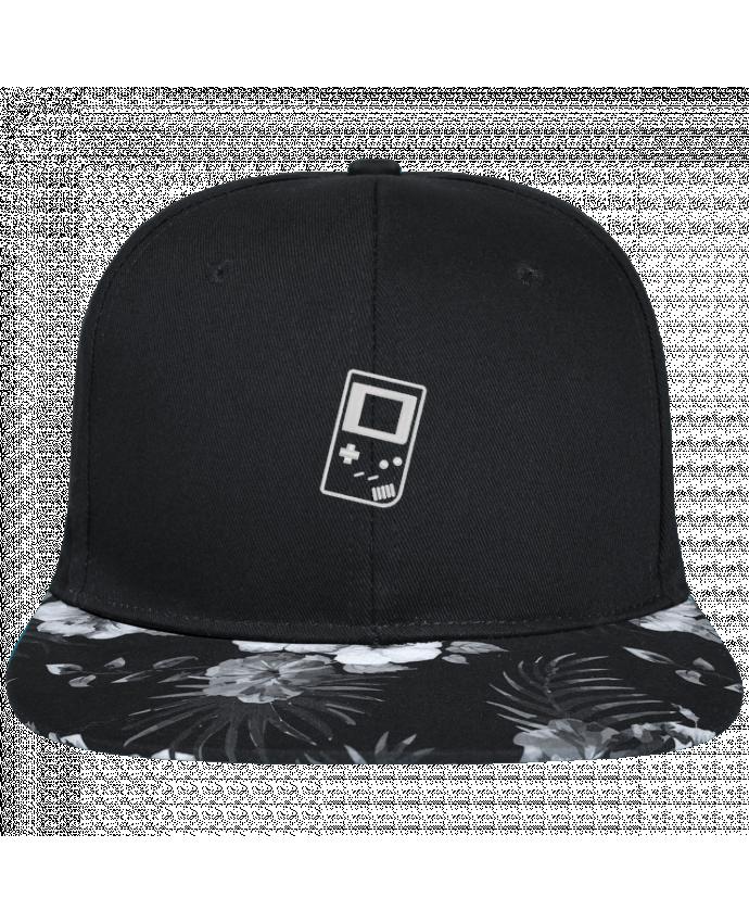 Casquette SnapBack Visière Graphique Fleur Hawaii Gameboy brodé brodé avec toile noire 100% coton et visière imprimée fleurs 1