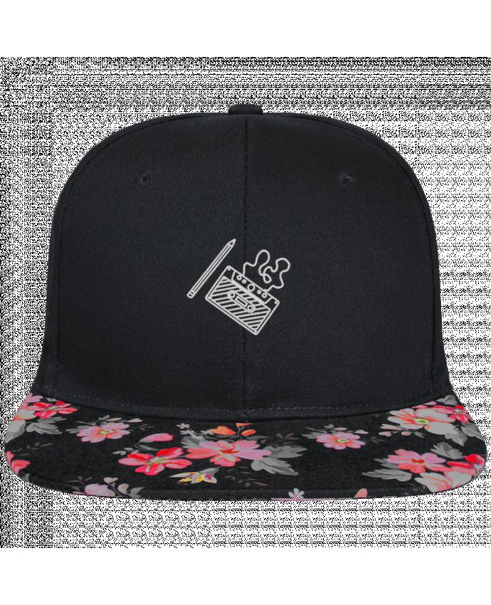 Casquette SnapBack Visière Graphique Noir Floral Cassette brodé brodé et visière à motifs 100% polyester et toile coton