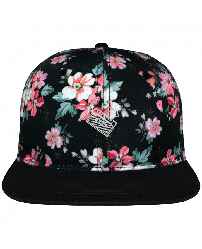 Casquette Snapback Couronne Graphique Floral Noir Cassette brodé brodé avec toile motif à fleurs 100% polyester et vis