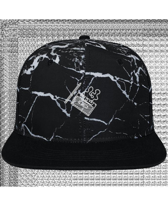 Casquette SnapBack Couronne Graphique Minéral Noir Cassette brodé brodé et toile imprimée motif minéral noir et blanc