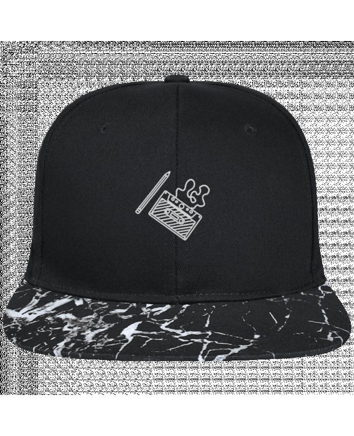 Casquette SnapBack Visière Graphique Noir Minéral Cassette brodé brodé avec toile noire 100% coton et visière imprimée