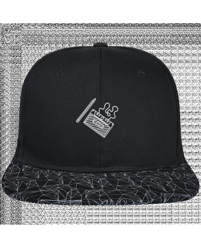 Casquette SnapBack Visière Graphique Noir Géométrique Cassette brodé brodé avec toile noire 100% coton et visière impri