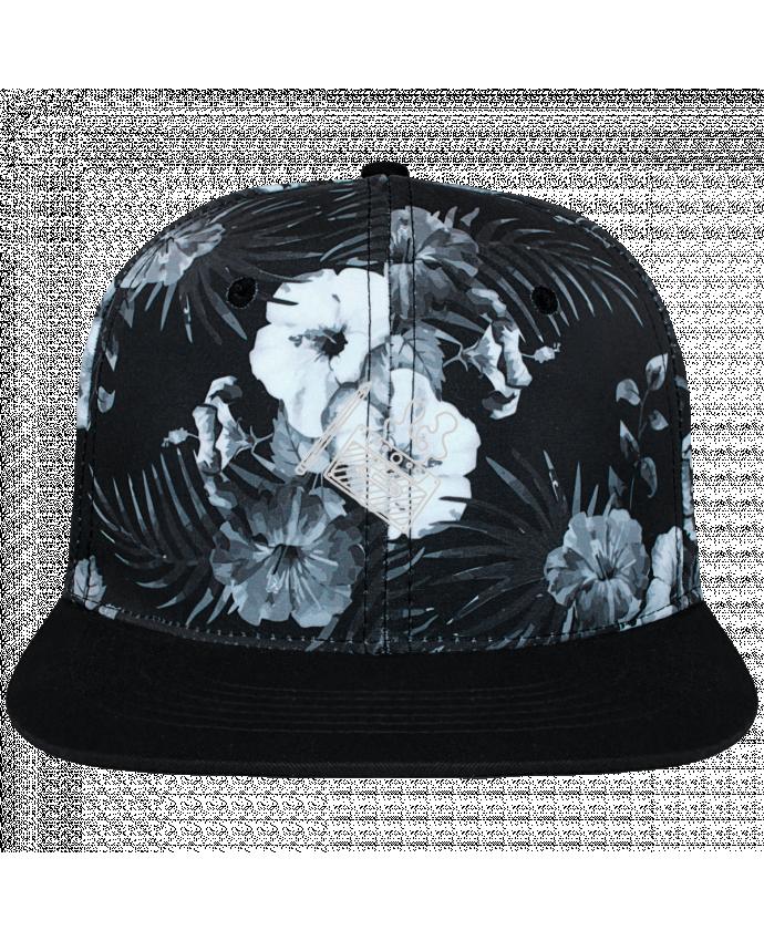Casquette SnapBack Couronne Graphique Hawaii Cassette brodé brodé et toile imprimée motif floral noir et b