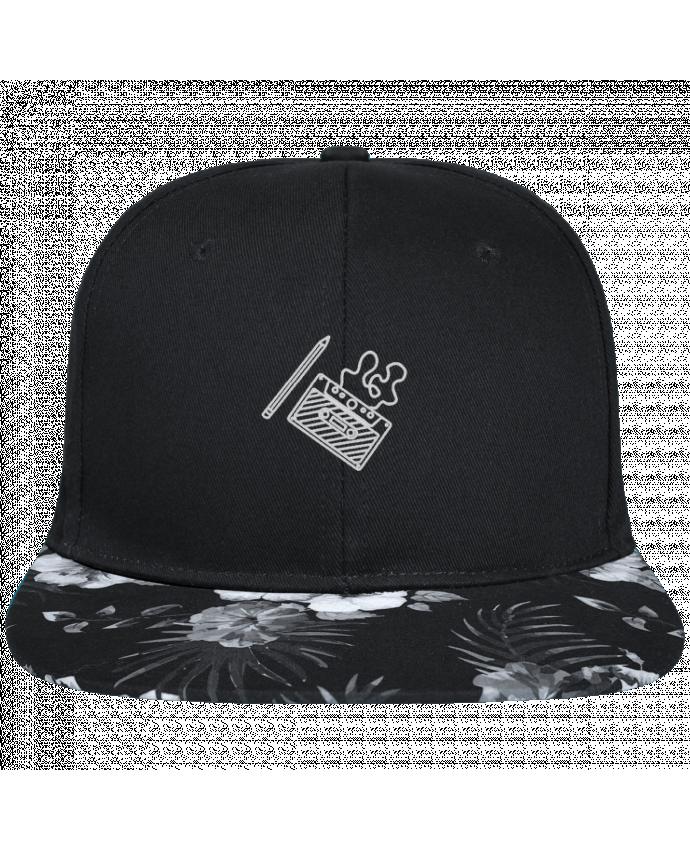 Casquette SnapBack Visière Graphique Fleur Hawaii Cassette brodé brodé avec toile noire 100% coton et visière imprimée fleurs