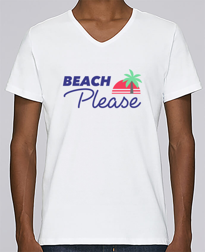 T-shirt Col V Homme Stanley Relaxes Beach please par Ruuud