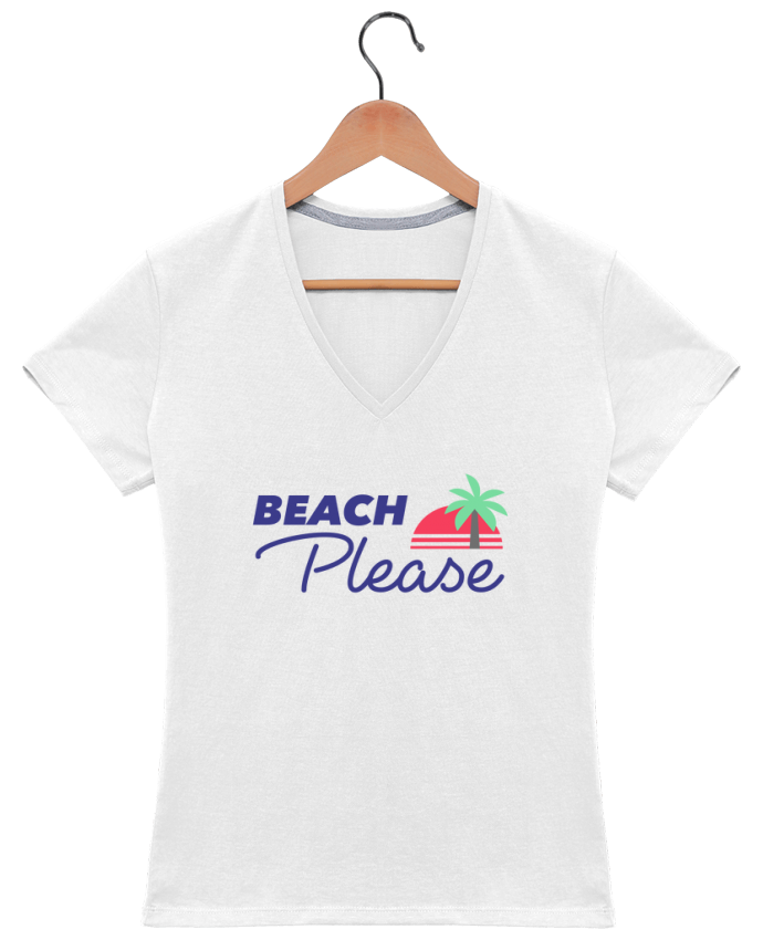 T-shirt Col V Femme 180 gr Beach please par Ruuud