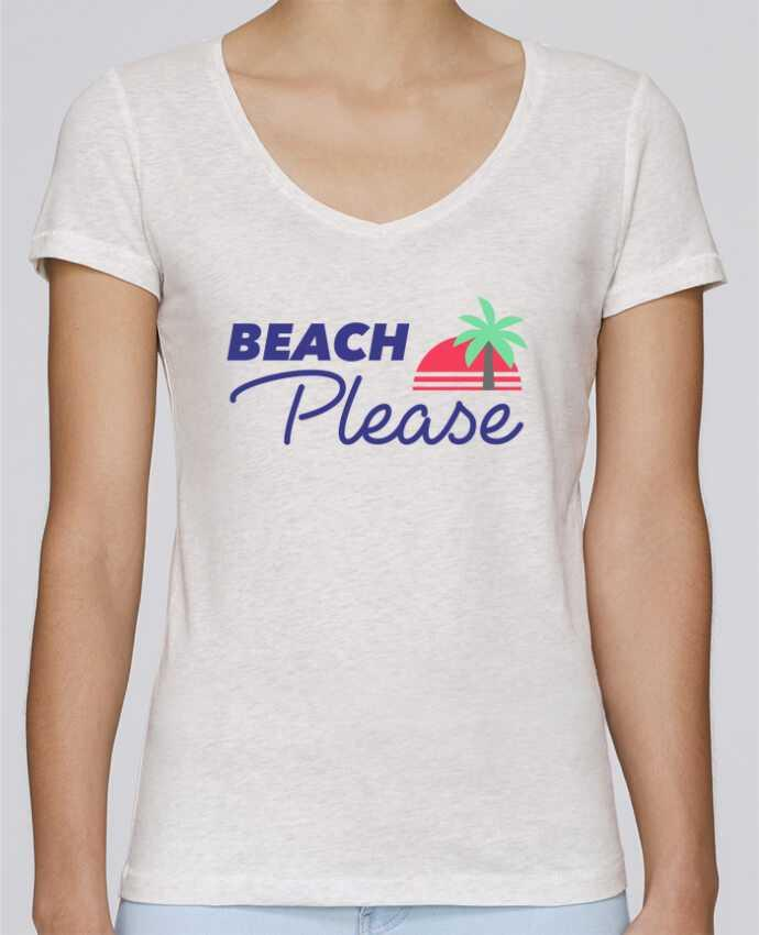 T-shirt Femme Col V Stella Chooses Beach please par Ruuud