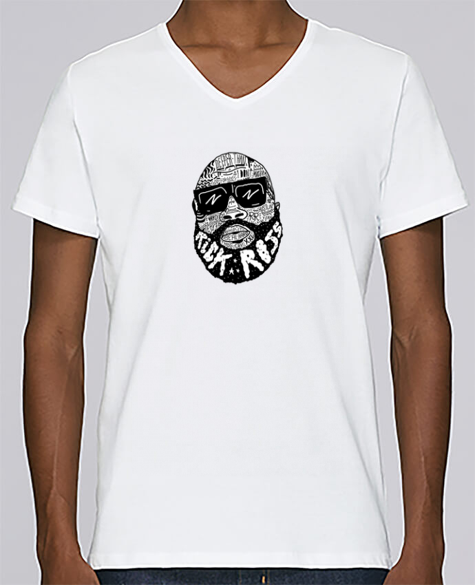 T-shirt Col V Homme Stanley Relaxes Rick Ross head par Nick cocozza