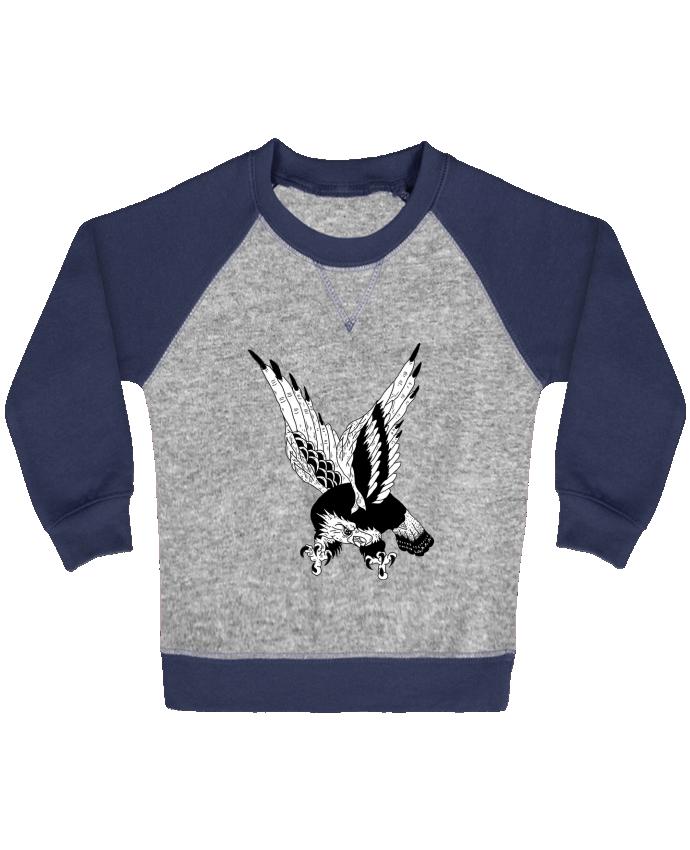 Sweat Shirt Bébé Col Rond Manches Raglan Contrastées Eagle Art par Nick cocozza