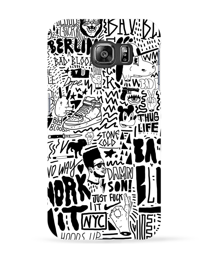 Coque 3D Samsung Galaxy S6 Black White Street art Pattern - Nick cocozza