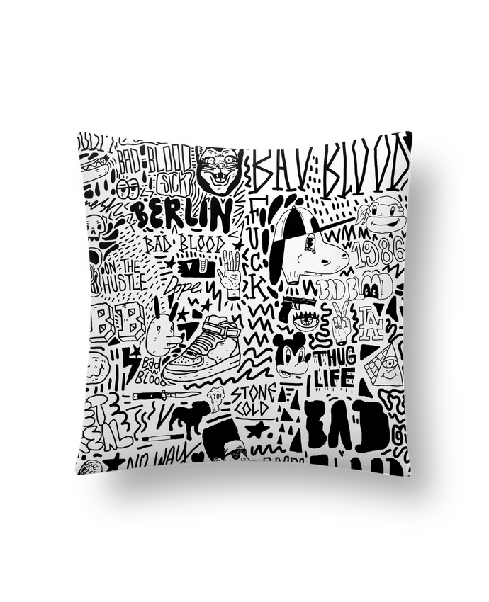 Coussin Synthétique Doux 41 x 41 cm Black White Street art Pattern par Nick cocozza