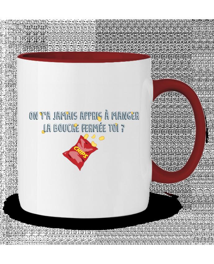 Mug en Céramique Bicolore Manger la bouche fermée Citation Dikkenek tunetoo