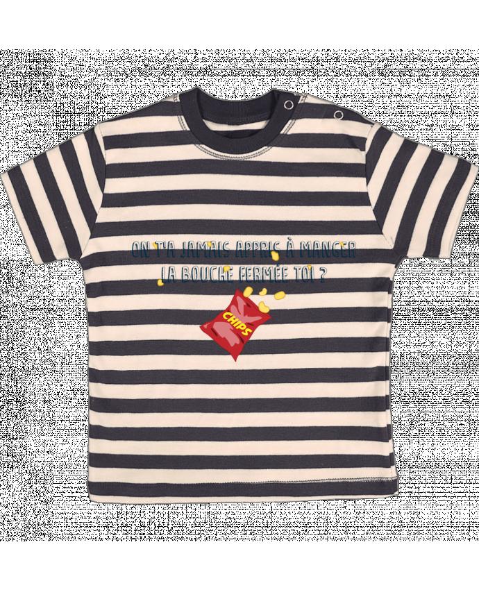 Tee-shirt bébé à rayures Manger la bouche fermée Citation Dikkenek par tunetoo