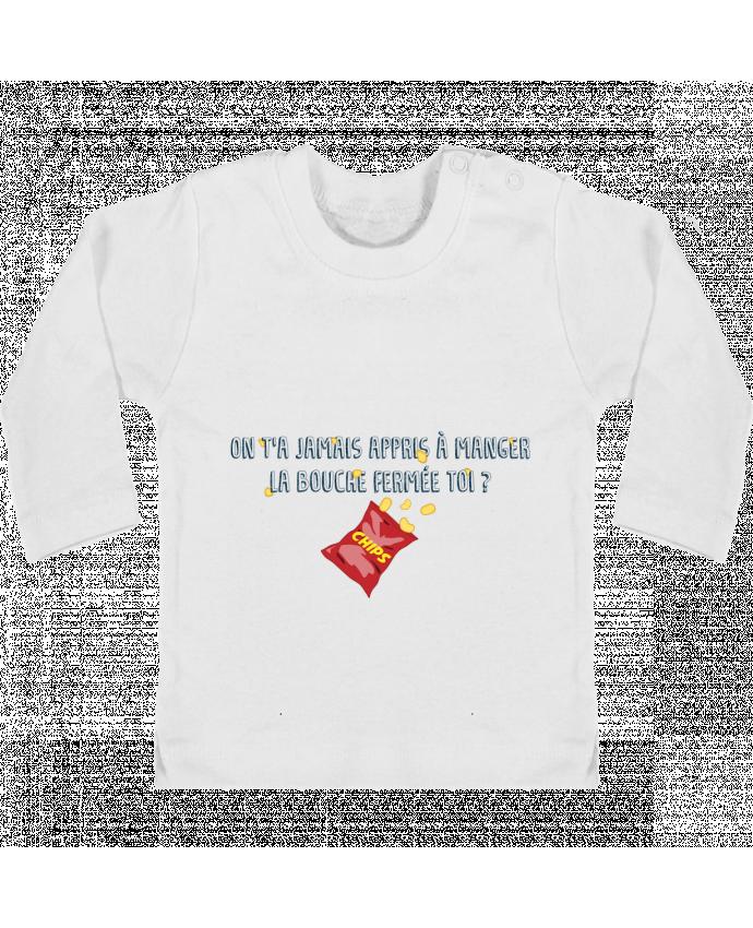 T-shirt Bébé Manches Longues Boutons Pression Manger la bouche fermée Citation Dikkenek manches longues du designer tunetoo
