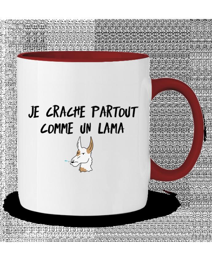 Mug en Céramique Bicolore Je crache comme un Lama Citation Dikkenek tunetoo