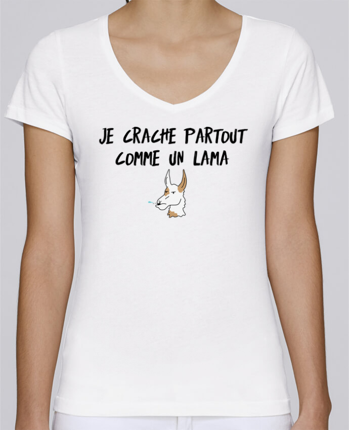 T-shirt Femme Col V Stella Chooses Je crache comme un Lama Citation Dikkenek par tunetoo