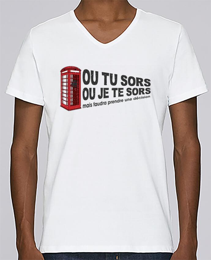 T-shirt Col V Homme Stanley Relaxes Ou tu sors ou j'te sors Citation Dikkenek par tunetoo