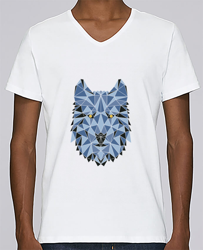 T-shirt Col V Homme Stanley Relaxes wolf - geometry 3 par /wait-design
