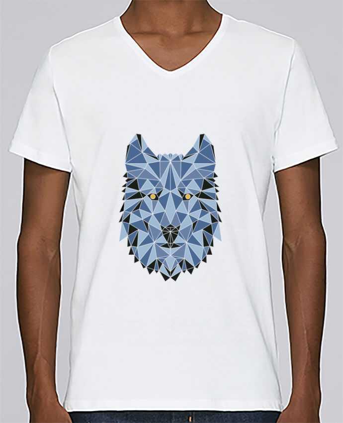 T-shirt Col V Homme Stanley Relaxes wolf - geometry 3 par /wait-design