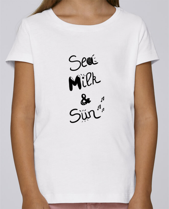 T-shirt Fille Mini Stella Draws Sea, milk and sun! par Ju Lie