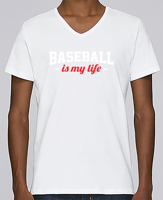 T-shirt Col V Homme Stanley Relaxes Baseball is my life par Original t-shirt