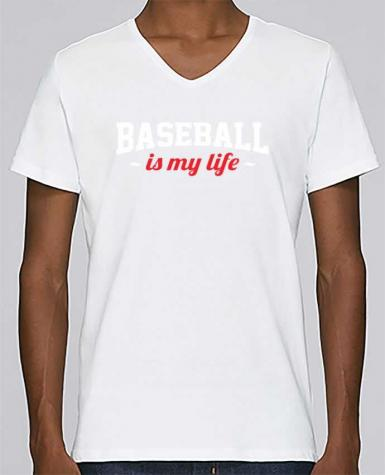 T-shirt Col V Homme Stanley Relaxes Baseball is my life par Original t-shirt