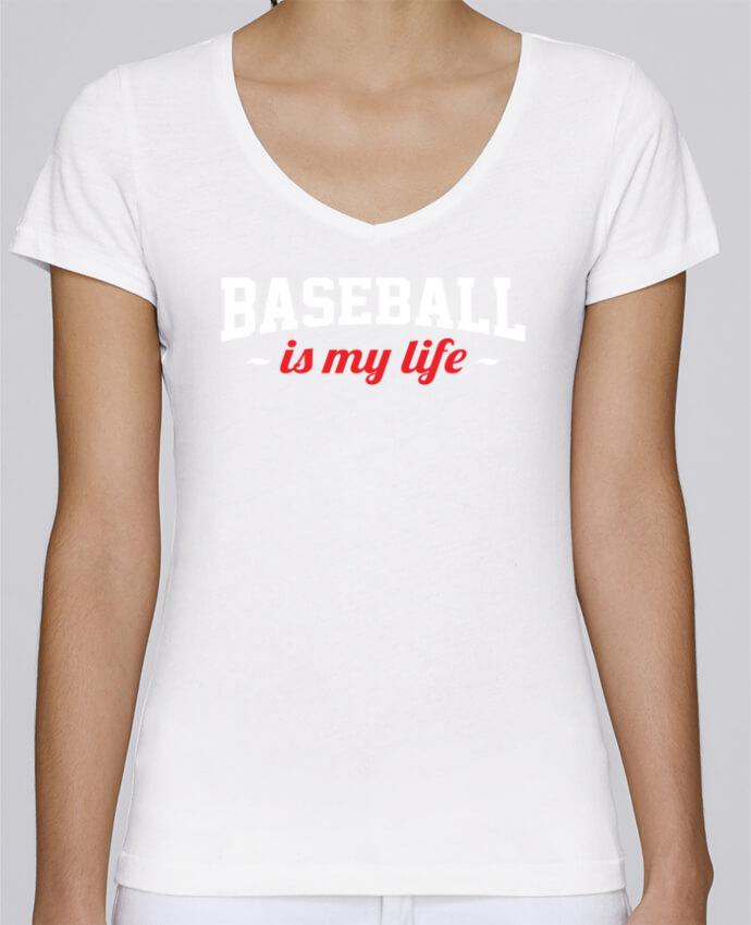 T-shirt Femme Col V Stella Chooses Baseball is my life par Original t-shirt