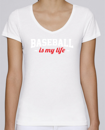 T-shirt Femme Col V Stella Chooses Baseball is my life par Original t-shirt