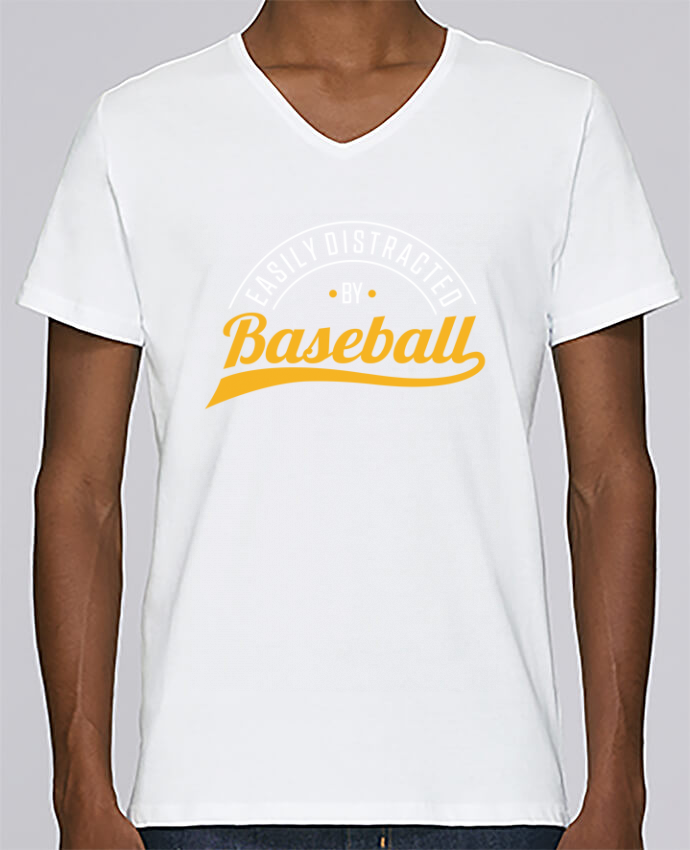 T-shirt Col V Homme Stanley Relaxes Distracted by Baseball par Original t-shirt