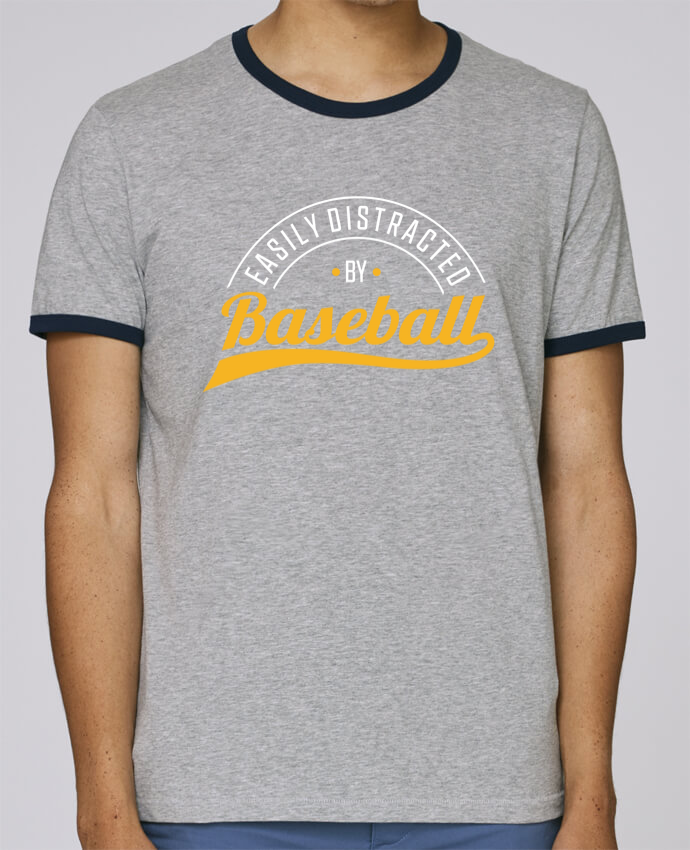 T-Shirt Ringer Contrasté Homme Stanley Holds Distracted by Baseball pour femme par Original t-shirt
