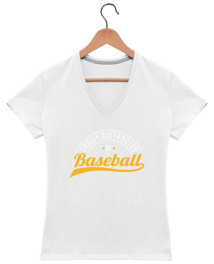 T-shirt Col V Femme 180 gr Distracted by Baseball par Original t-shirt