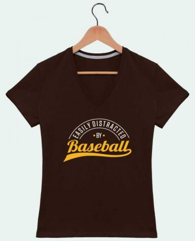 T-shirt Col V Femme 180 gr Distracted by Baseball par Original t-shirt