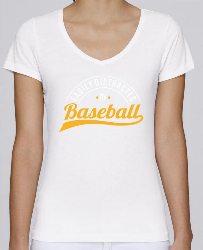 T-shirt Femme Col V Stella Chooses Distracted by Baseball par Original t-shirt