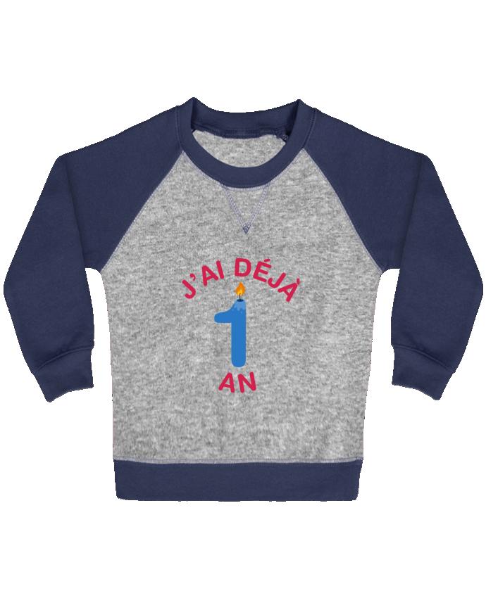 Sweat Shirt Bébé Col Rond Manches Raglan Contrastées Déjà 1 ans Cadeau bébé par tunetoo