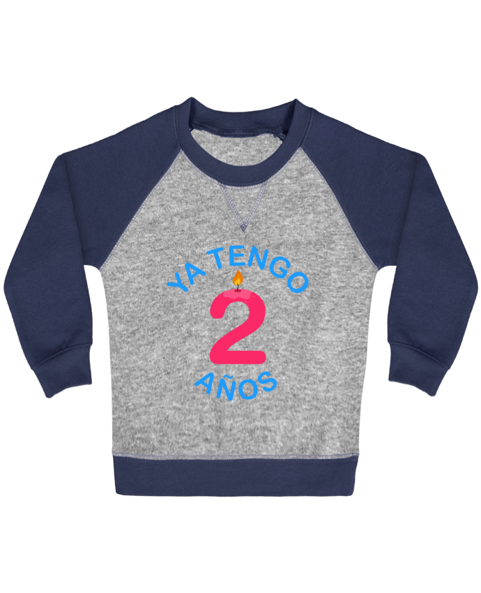 Sweat Shirt Bébé Col Rond Manches Raglan Contrastées Ya Tengo 2 años par tunetoo