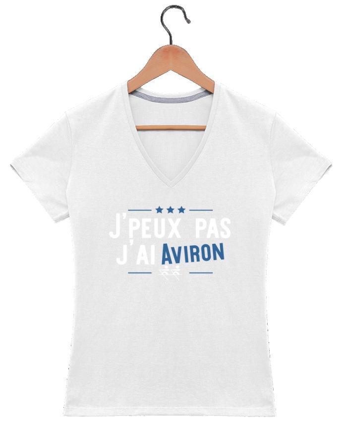 T-shirt Col V Femme 180 gr J'peux pas j'ai aviron par Original t-shirt