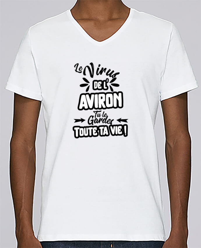 T-shirt Col V Homme Stanley Relaxes Virus de l'Aviron par Original t-shirt