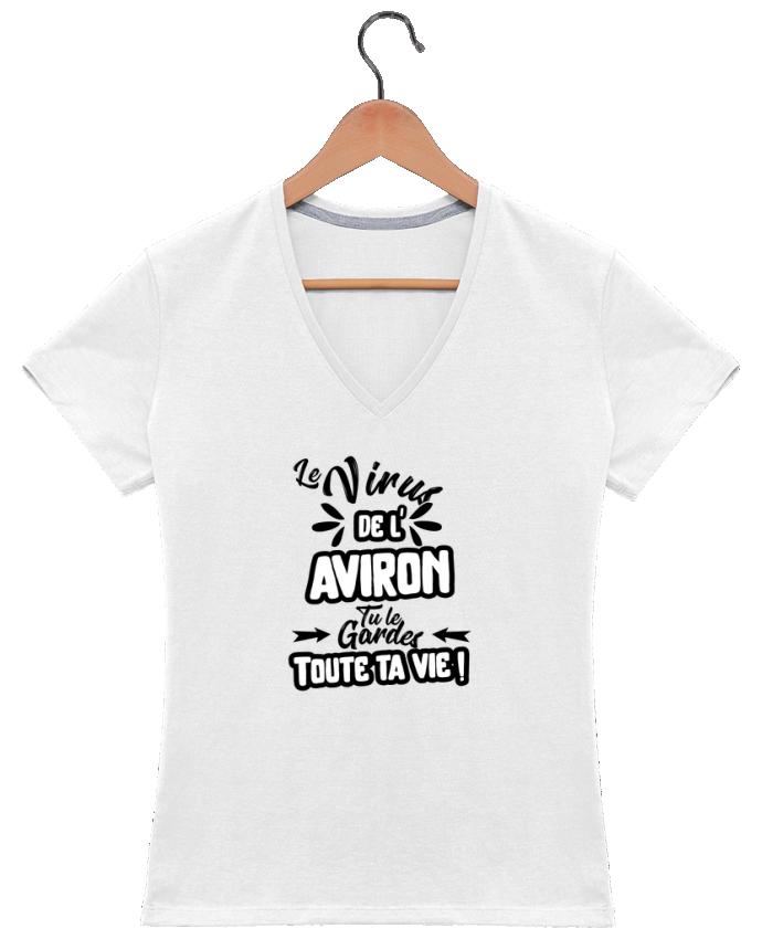 T-shirt Col V Femme 180 gr Virus de l'Aviron par Original t-shirt